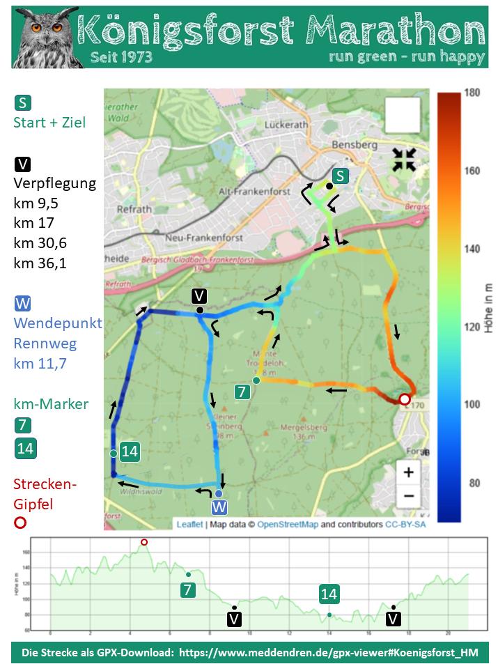 Strecke des Königsforst Marathon 2021