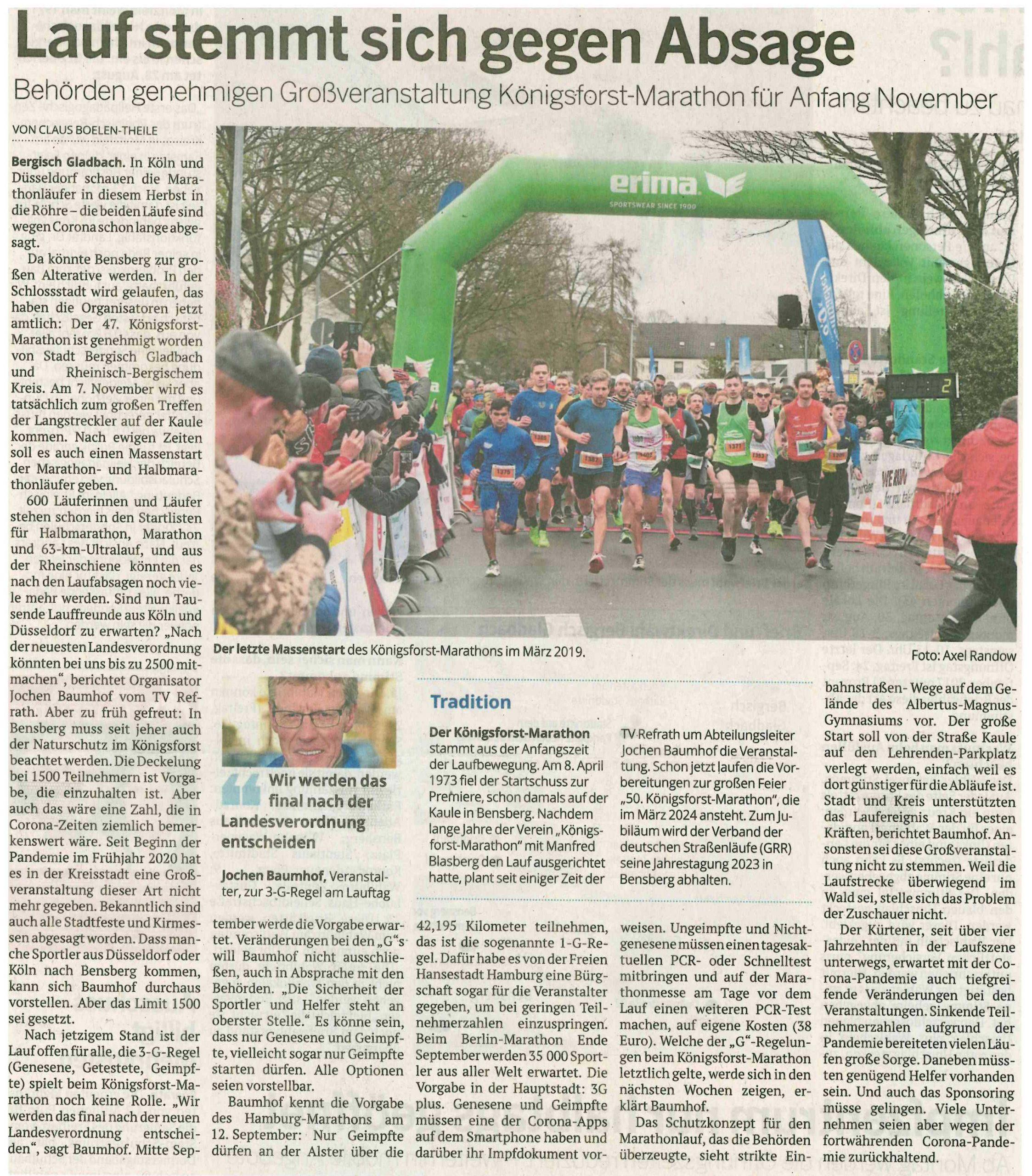 Anmeldung zum Königsforst Marathon 2021